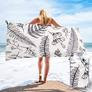 "ANYA TOPSHOP Ultra Soft Beach Towel Hand Drawn Fern Plant Peacock Grass Simplistic Line Drawing Bath Towel with Bag, Microfiber Throw Towel Fast Dry Lightweight Hand Towel for Fitness 27.5""X55"""