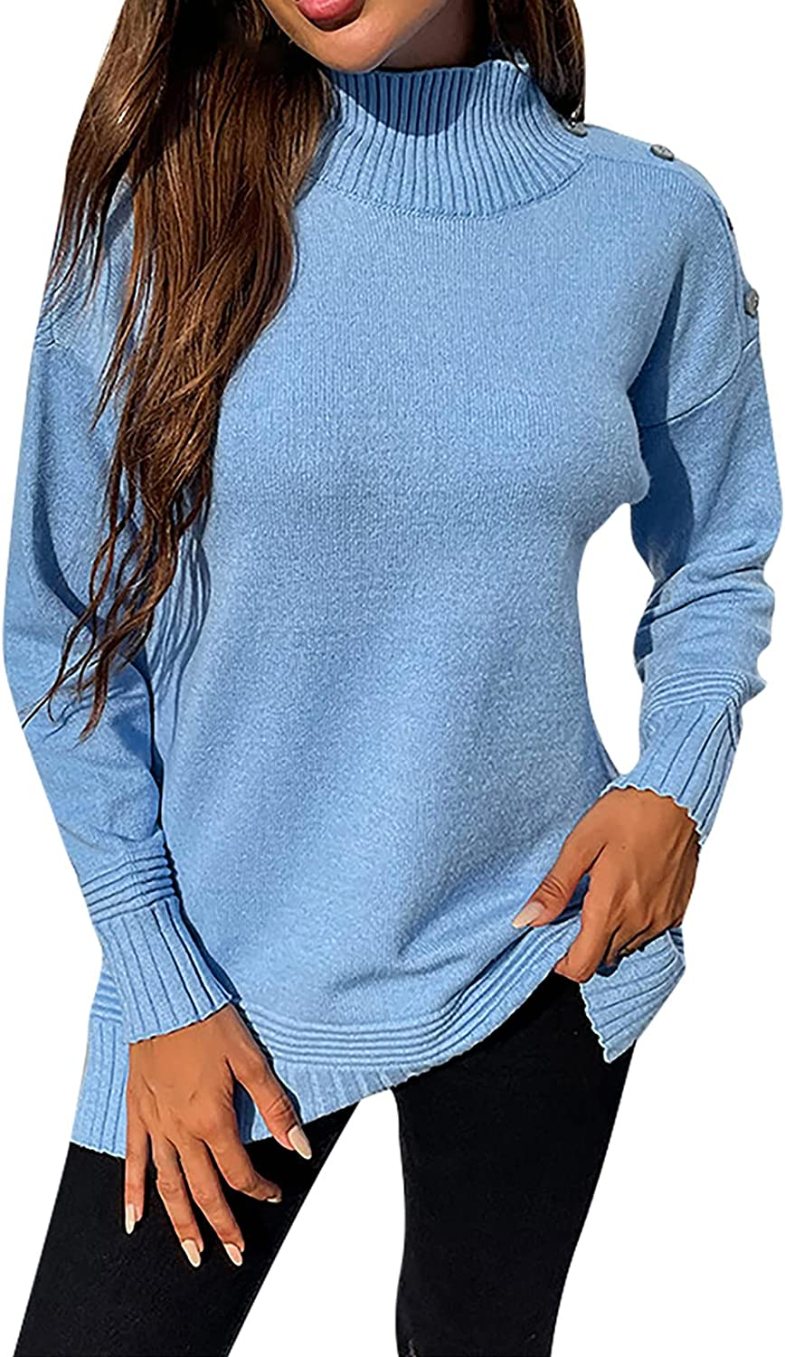 New sales Fall Sweaters for Women Solid Max 83% OFF Half Sweater Turtleneck Color Hem