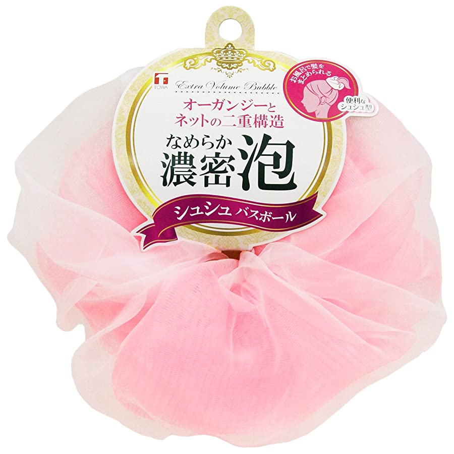 貸す脆いロマンス東和産業 泡立てネット シュシュ バスボール ピンク 直径約14cm
