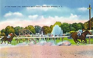 Saratoga Springs, New York - Saratoga Race Track Finish Line View (12x18 Art Print, Wall Decor Travel Poster)
