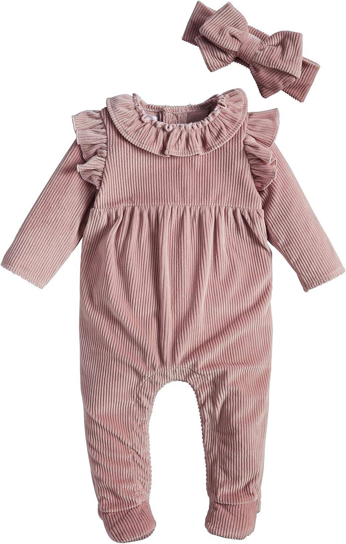 Mud Pie Baby Girls' Pink Ribbed Velour Sleeper and Headband Set