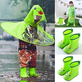 Makaor - Botas de Lluvia para bebé, Antideslizantes, Impermeables, con diseño de Dinosaurio, Verde, 5-5.5 Years