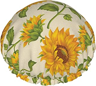 Czapka prysznicowa dla kobiet wodoodporna dwuwarstwowa piękna żółta słonecznik sztuka wielokrotnego użytku czapka do kąpie...