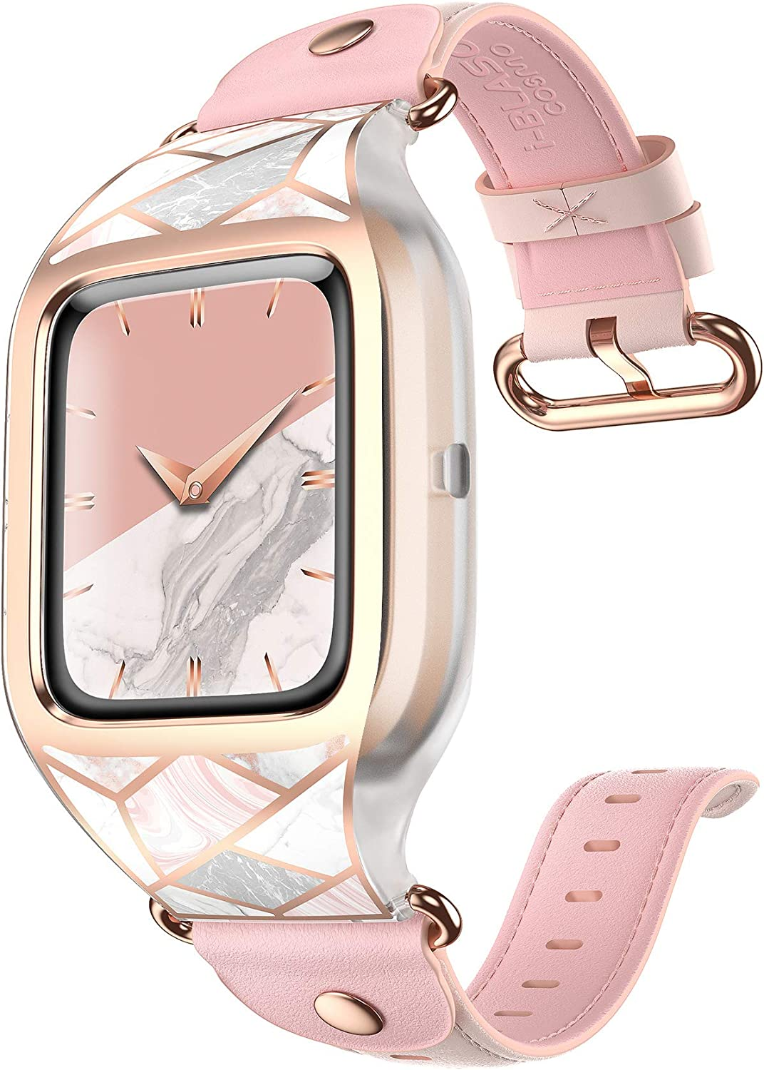 i-Blason Band Designed for Fitbit Versa 2, [Cosmo] Stylish Sporty Protective Case with Adjustable Leather Wristband (Marble)