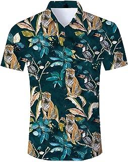 b9f7a050d Men's Hawaiian Shirt Button Down 3D Print Summer Short Sleeve Tropical  Aloha Dress Shirts