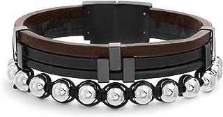 Steve Madden Stainless Steel Ball Black Cord Brown Leather Stackable Bracelet for Men