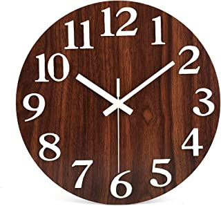 jomparis 12'' Night Light Function Silent Round Wall Clock Large 3D Numbers Glow in The Dark Battery Operated Wooden Decorative Wall Clock for Office Living Room Bedroom