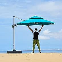 PURPLE LEAF 10 Feet Double Top Round Deluxe Patio Umbrella Offset Hanging Umbrella Outdoor Market Umbrella Garden Umbrella, Turquoise Blue