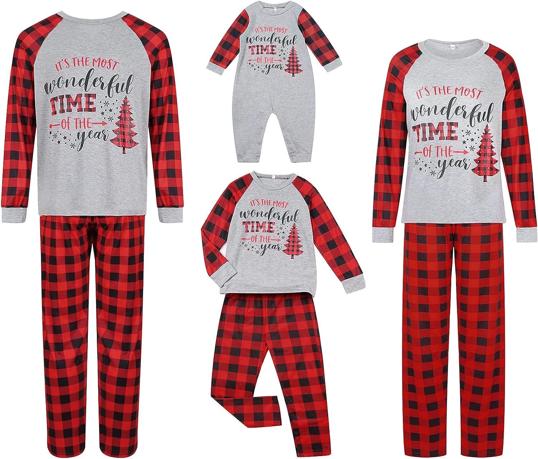 Max 58% OFF Award Christmas Family Matching Pajamas Set Long Print Sleeve Elk Tops