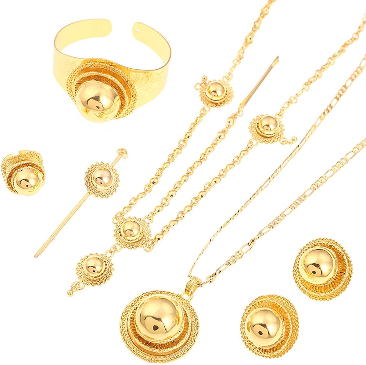 Ethiopian Bridal Jewelry Sets Big Hair Jewelry 6pcs Sets African Jewelry for Ethiopian