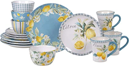 Certified International 89060 Citron 16 piece Dinnerware Set, Service for 4, Multicolored