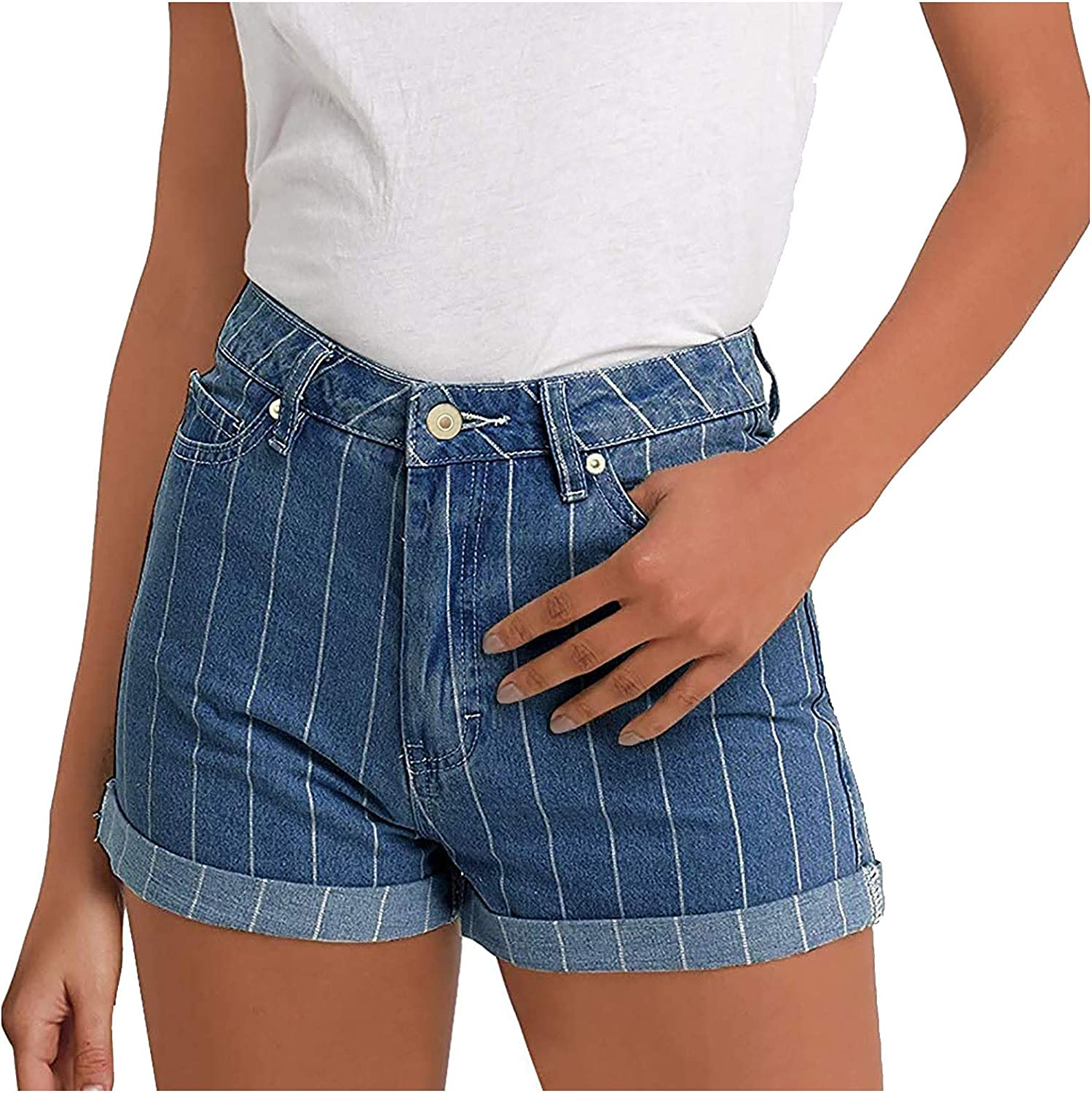 Jean Shorts for Women Summer, Stretch Skinny Denim Shorts with Rolled-Up Hem Plaid Casual Washed Hot Pants