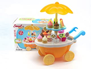 VERZABO Ice Cream Cart Food Truck Toy Toddler Toys Ice Cream Toy 39 Piece Play Ice Cream Set with Music Lights & Sound Pretend Play Ice Cream Toy Great Christmas Toy for Toddler Girl/Boy