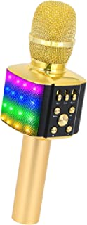 Best BONAOK Bluetooth Karaoke Wireless Microphone with controllable LED Lights, 4 in 1 Portable Karaoke Machine Speaker for Android/iPhone/PC (Gold) Review