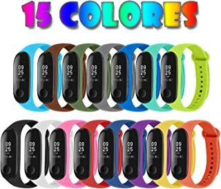 [Compatible con Xiaomi Mi Smart Band 4] 15 Piezas Correas para Xiaomi Mi Band 3 / Mi Smart Band 4 Pulseras Reloj Silicona Banda Reemplazo - 15 Colores