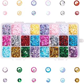 NBEADS 1 Box Bulk Plastic Paillette Beads with 1mm Hole, Semi-Cupped Disco Sequin Beads Loose Sequins Spangle Ornaments fo...