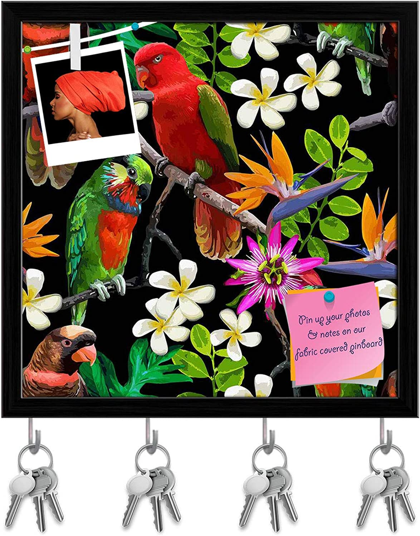 Artzfolio Exotic Birds & Beautiful Flowers D2 Key Holder Hooks   Notice Pin Board   Black Frame 20 X 20Inch