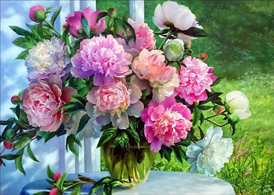 DIY 5D Diamond Painting by Number Kits Full Drill Peony Flower Rhinestone Embroidery Cross Stitch Pictures Arts Craft for Home Wall Decor 16x12 inches