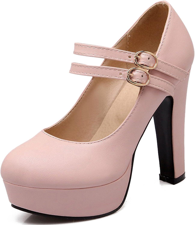 DoraTasia Vintage Double Buckle Straps PU Leather Thick Platform High Heels Women Pumps