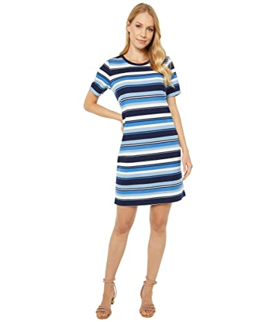 MICHAEL Michael Kors Court Stripe Tee Dress (Chambray) Women