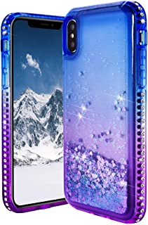 Compatible with iPhone XS Max Glitter Back Cover, Gradient Bling Diamond Glitter Liquid Quicksand Flowing Waterfall Floating Sparkly Gel Rubber TPU Bumper Case Compatible with iPhone XS Max