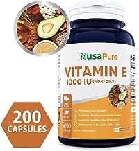 Vitamin E 1000 IU 200 Capsules (Non-Oily, Non-GMO & Gluten Free) - Mixed D-Alpha Tocopherol - Antioxidant for Healthy Skin, Eyes & Hair - Powder Caps