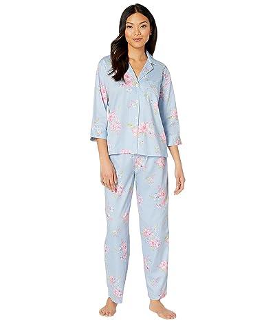 LAUREN Ralph Lauren Classic Wovens 3/4 Sleeve Pointed Notch Collar Long Pants Pajama Set (Blue Check) Women