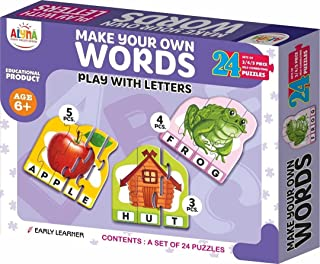 Toys spelling puzzle Words Practice English Letters Game Spelling Cards Word Games Montessori Educational 24 Pieces (96 Pi...