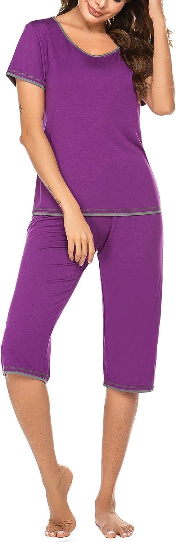Ekouaer Women Pajama Sets Short Sleeve V-Neck Sleepwear Striped Tops with Capri Bottoms