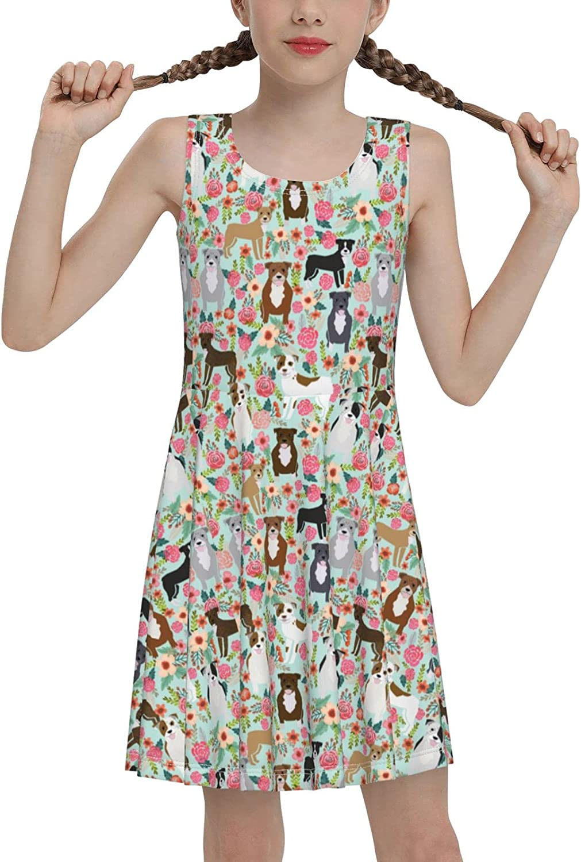 Pitbull Floral Flower Sleeveless Dress for Girls Casual Printed Vest Skirt