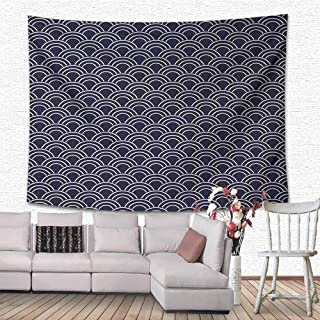 SONGDAYONE Printed Tapestry Geometric Marine Inspired Ornamental Abstract Sea Design with Half Circle Wave Pattern Foldable Dark Blue Cream W80 x L60