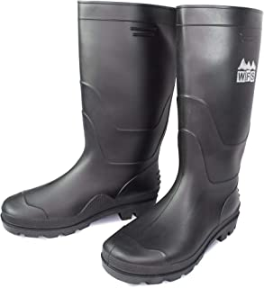 Rising Phoenix Industries Mens Black PVC Rain Boots, Heavy Duty Rubber Water Work Shoes, Wide Calf Slip On