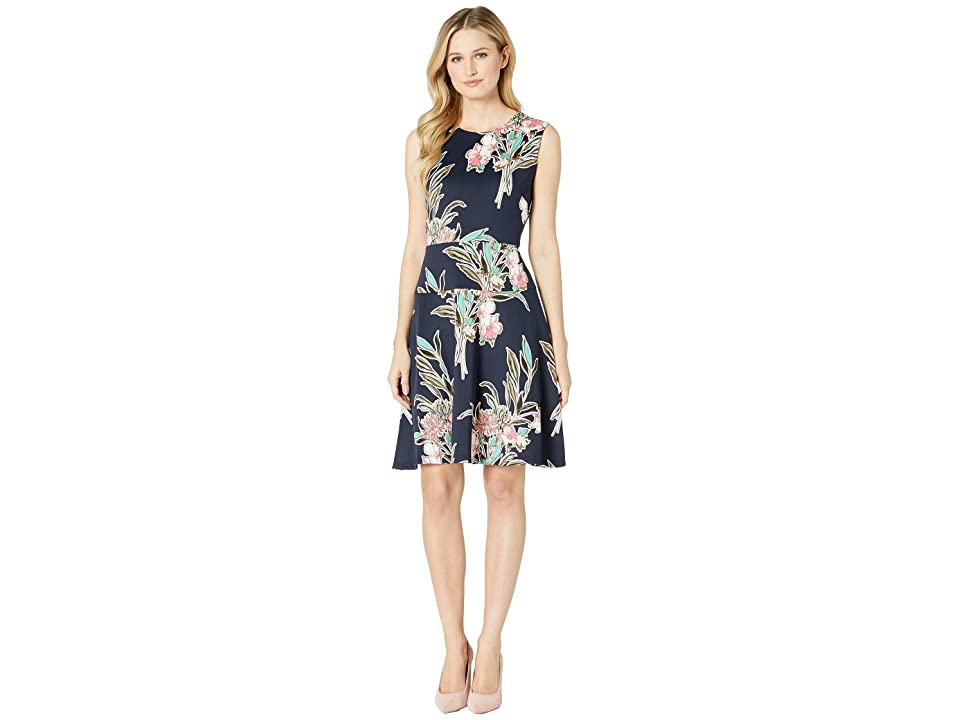 Taylor Sleeveless Floral Fit and Flare Dress (Navy/Rose) Women