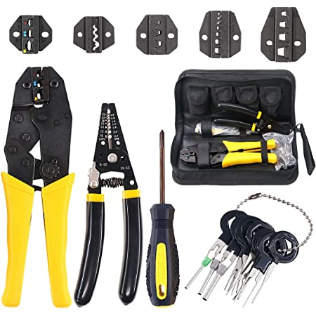 PRO-Ratchet Crimper Plier Crimping Tool Cable Wire Electrical Terminals Kit Sets