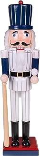 Baseball Player Nutcracker   Pinstripe Uniform, Baseball Bat and Baseball   Perfect for Any Collection   Festive Christmas Decor   Perfect for Shelves and Tables   100% Wood   15
