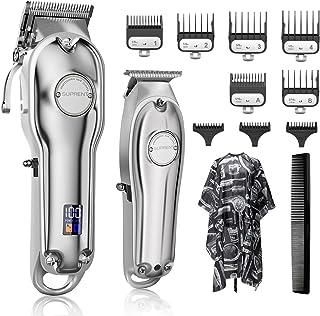 SUPRENT Tondeuse professionele tondeuse voor heren, baardtrimmer, haartrimmer met led-display, T-blade trimmer kit voor ge...