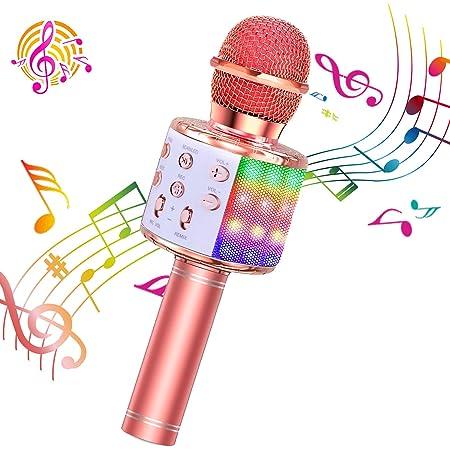 ShinePick Micrófono Karaoke Bluetooth, 4 en1 Microfono Inalámbrico Karaoke Portátil con Luces LED para Niños Canta Partido Musica, Compatible con Android/iOS PC, AUX o Teléfono Inteligente (Oro rosa)