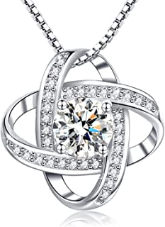 Annie & Kevin 925 Sterling Silver Necklace 5A Cubic Zirconia Simulated Diamond Heart Shape/Dancing Hearts/Halo Flower/Clover Pendant Jewelry Gift Box for Women Girls