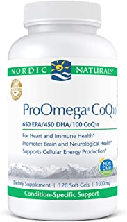 Nordic Naturals ProOmega CoQ10, Lemon - 120 Soft Gels - 1280 mg Omega-3 + 100 mg CoQ10 - Heart, Brain & Immune Health, Cel...