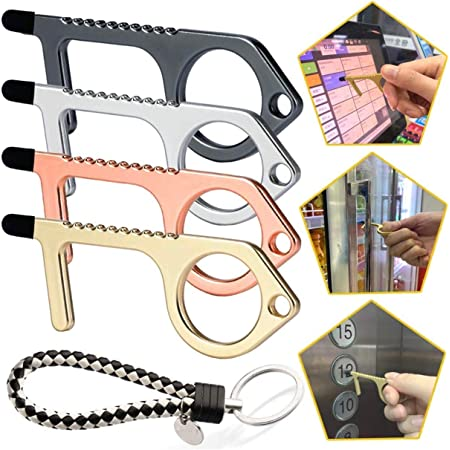 New No Touch Keychain Portable Alloy Door Opener EDC Contactless