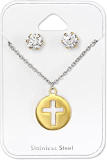 Stainless Steel Gold Tone Cross Pendant Necklace & Crystal CZ Stud Earrings 30127