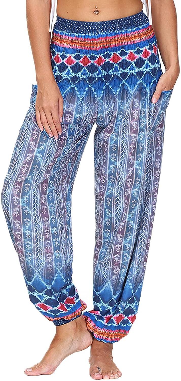 Pyhlmscde Women Summer Pants Trousers Hip Hop Casual Harem Pants Drawstring Sweatpants Bohemian Beach Pants