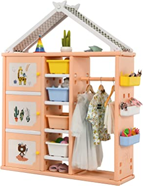Costzon Kids Dress up Costume Storage Closet, Children Pretend Dresser Wardrobe Closet w/Bins, Shelves, Side Baskets, Hanging