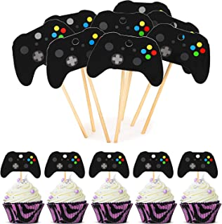 48 Pieces Cupcake Toppers Video Game Cupcake Toppers Cake Picks Decoration for Gaming Theme Party Birthday Party Supplies