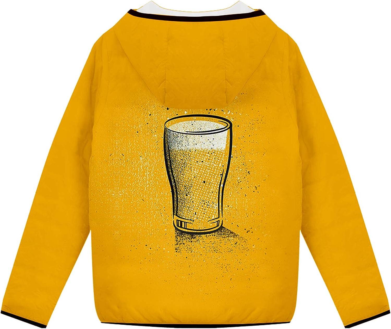 URVIP Unisex Oversized 3D Printed Beer Festival Puffer Coat Hooded Down Jacket