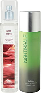 Ajmal Deep Earth EDT of 250ml & Nightingale Deodorant 200ml Combo pack of 2 (Total 450ML) for Men & Women + 4 Parfum Testers