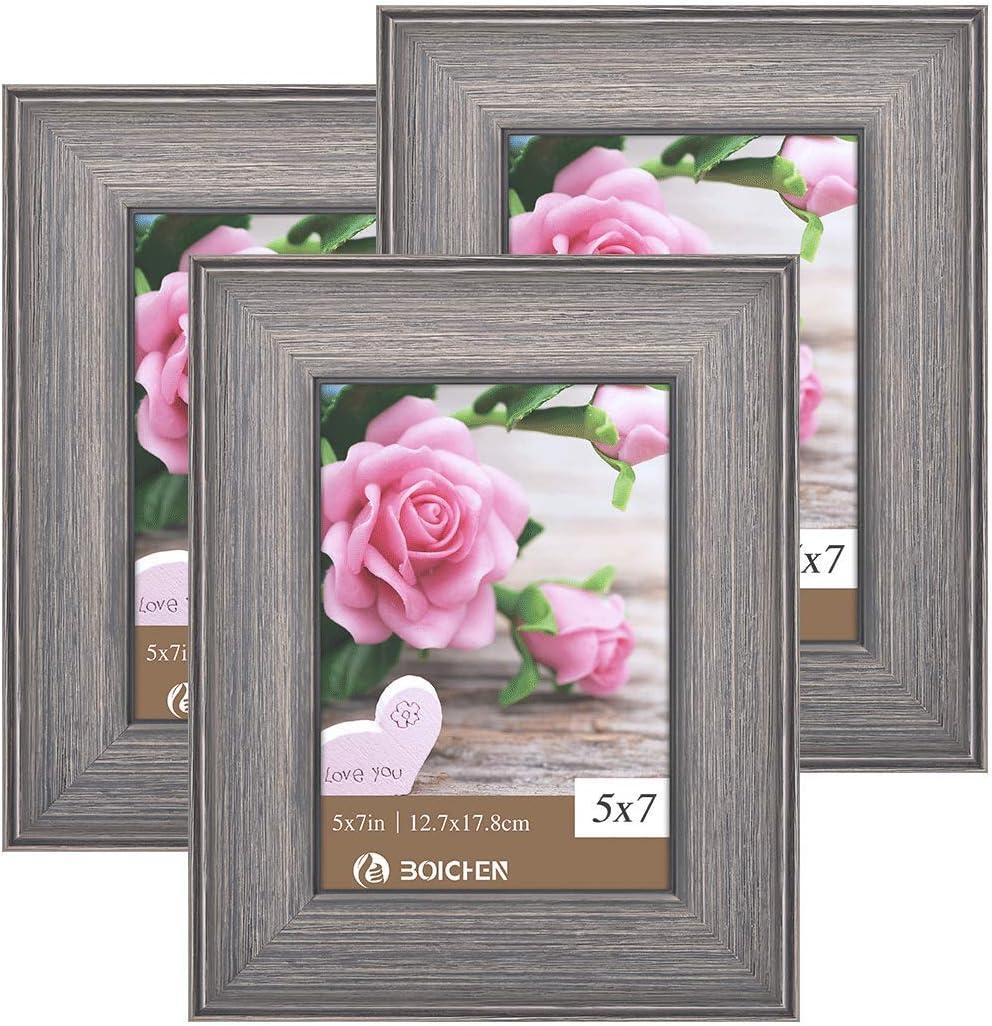 BOICHEN Picture Frames 5x7 in Gray Brown - Rustic Distressed Sol