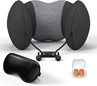 COSPOR Travel Pillow,100% Pure Memory Foam Neck Pillow, Breathable and Comfortable 360-Degree Head Support,Soft Breathable Pillowcase for Removable Washable,Standard Travel Kit with Eye Mask, Earplugs