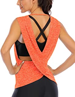 ICTIVE Women's Sleeveless Open Back Shirt Flowy Yoga Top Loose Women Running Tops Backless Active Top Sports Workout Tanks