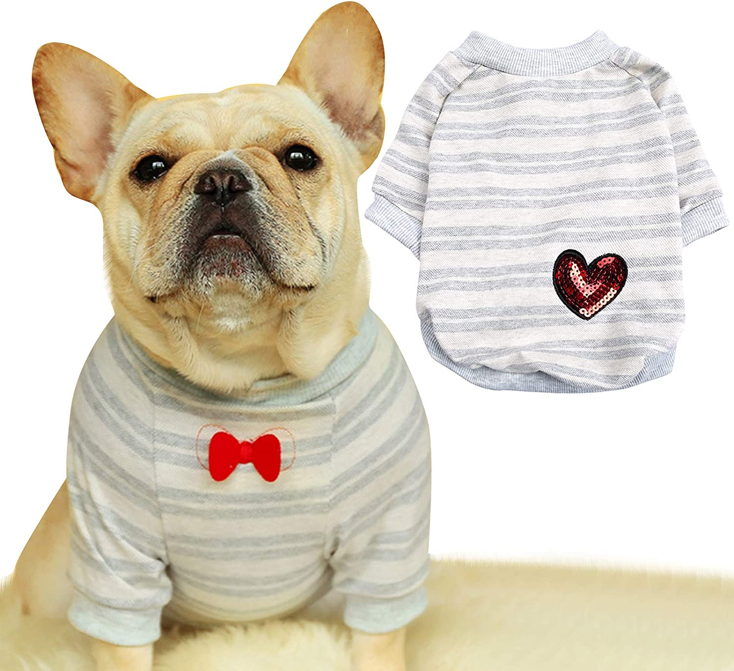 French Bulldog Stripe Cotton Tampa Mall Dog Clothe Shirts Pet Puppy A surprise price is realized T-Shirt